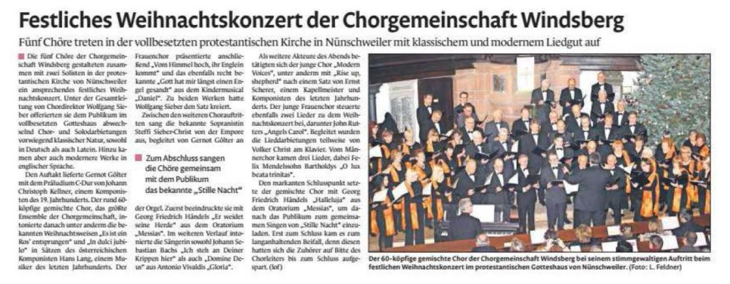 Festliches Weihnachtskonzert der Chorgemeinschaft Windsberg
