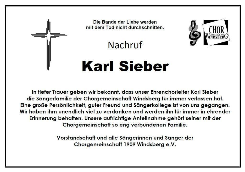 Nachruf Karl Sieber